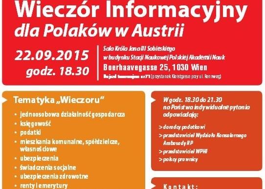 Wieczór informacyjny dla Polaków w Austrii już 22 września 2015
